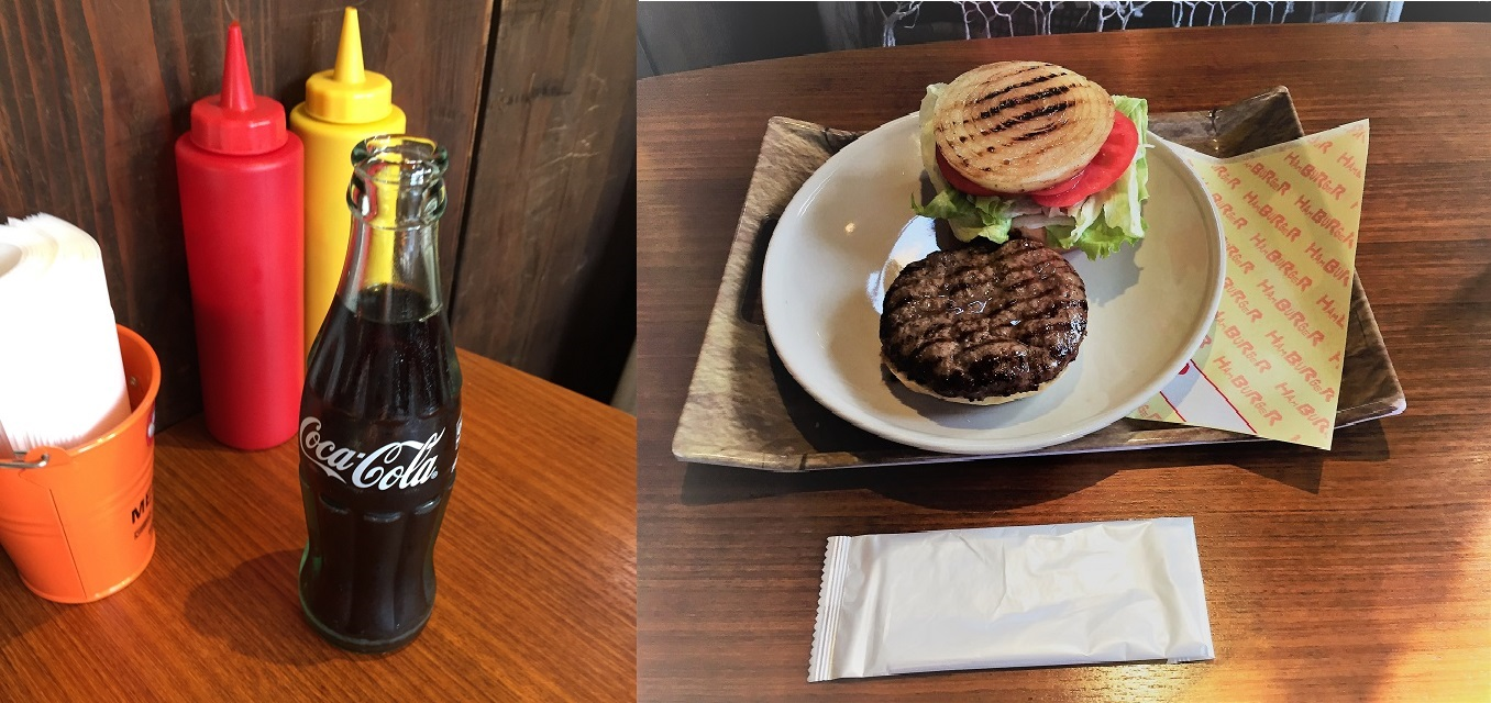 ハンバーガーとコーラのセット